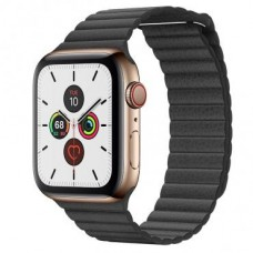 Apple Watch Series 5 LTE 44mm Gold Stainless Steel Case with Black Leather Loop (MWQN2+MXAA2)