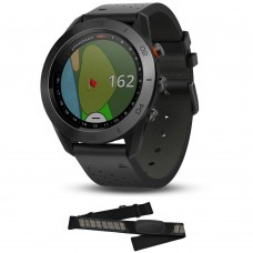 Garmin Approach S60 Premium Black Ceramic Bezel with Black Leather Band (010-01702-03)