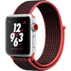 Apple Watch Nike+ Series 3 (GPS + Cellular) 38mm Silver Aluminum w. Bright Crimson/BlackSport L. (MQL72)