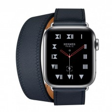 Apple Watch Hermes Series 4 GPS + Cellular 40mm Stainless Steel Case with Bleu Indigo Swift Leather Double Tour MU6Q2 / MU722