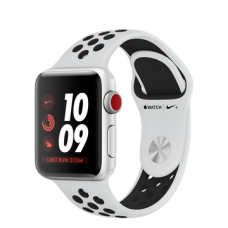 Apple Watch Nike+ Series 3 (GPS + Cellular) 38mm Silver Aluminum Case with Pure Platinum/Black Nike Sport Band (MQM72)