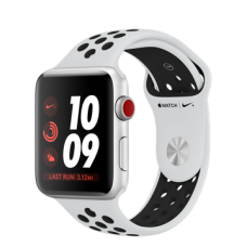 Apple Watch Nike+ Series 3 (GPS + Cellular) 42mm Silver Aluminum Case with Pure Platinum/Black Nike Sport Band (MQME2)