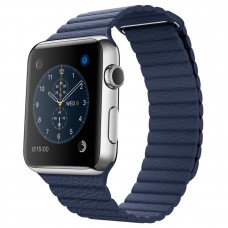 Apple 42mm Stainless Steel Case with Bright Blue Leather Loop (MLFD2)