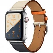 Apple Watch Hermes Series 4 GPS + Cellular 44mm Stainless Steel Case with Indigo/Craie/Orange Swift Leather Single Tour (MU6X2)