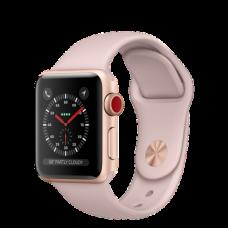 Apple Watch Series 3 (GPS + Cellular) 38mm Gold Aluminum w. Pink Sand Sport L. (MQJQ2)