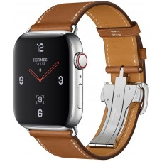 Apple Watch Hermès Series 4 GPS + Cellular 44mm Stainless Steel Case with Fauve Barenia Leather Single Tour Deployment Buckle MU6T2/MU742