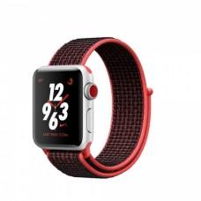 Apple Watch Nike+ Series 3 (GPS + Cellular) 38mm Silver Aluminum w. Bright Crimson/BlackSport L. (MQM92)